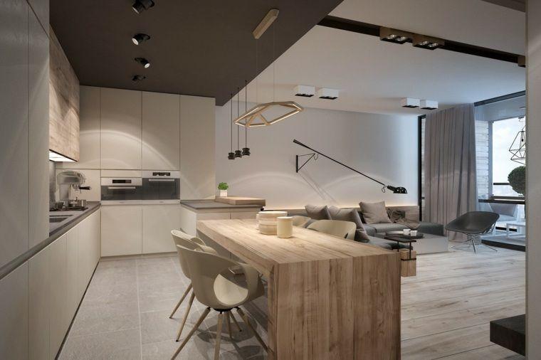 Association de couleur neutre  2 exemples magnifiques Island - image cuisine ouverte sur salon