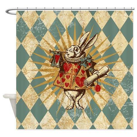 White Rabbit Vintage B Shower Curtain By Missthree Alice In