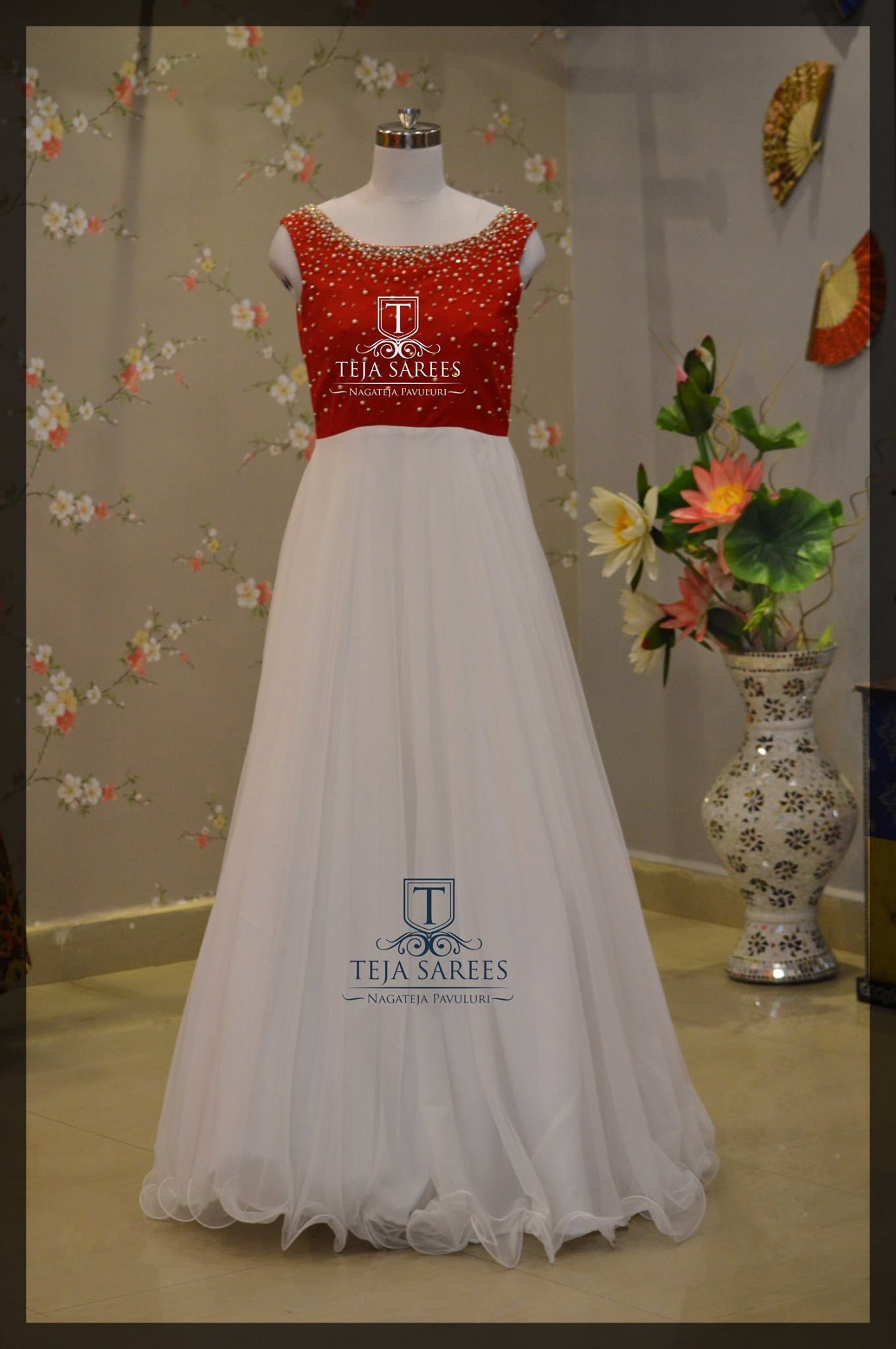Beautiful White And Red Combination Floor Length Dress From Teja Ts Ds 479availablefor Orders Queriescall Whats On8341382382 Ormail