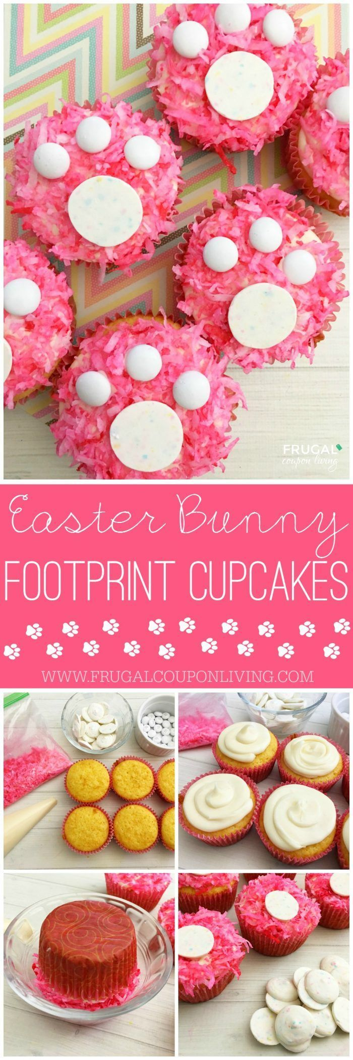 We are quite fond of these Easter Cupcakes. Have fun with coconut and chocolate and make the cutest Easter Bunny Footprint Cupcakes. Details on Frugal Coupon Living.