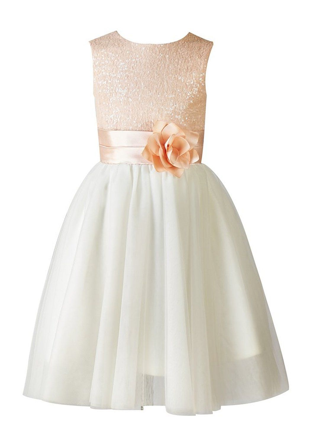262deaa847a Amazon.com  Thstylee Girl s Sequin Tulle Flower Girl Dress Junior  Bridesmaid Dress  Clothing