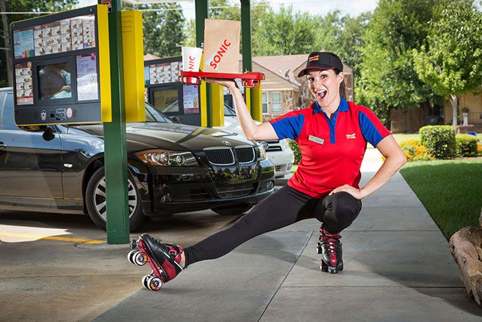 Car Hop Locations: Sonic Carhop Doing Acrobatics At A Sonic Drive-In Location