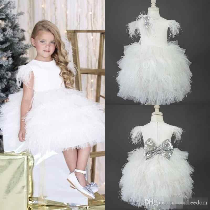 2019 Real Image White Feather Flower Girls Dresses For Weddings Jewel Neckline Knee Length Tiered Kids Pageant Gowns Communion Flower Dress Girl Flower Girl Dre Flower Girl Dresses Flower Girl Dresses