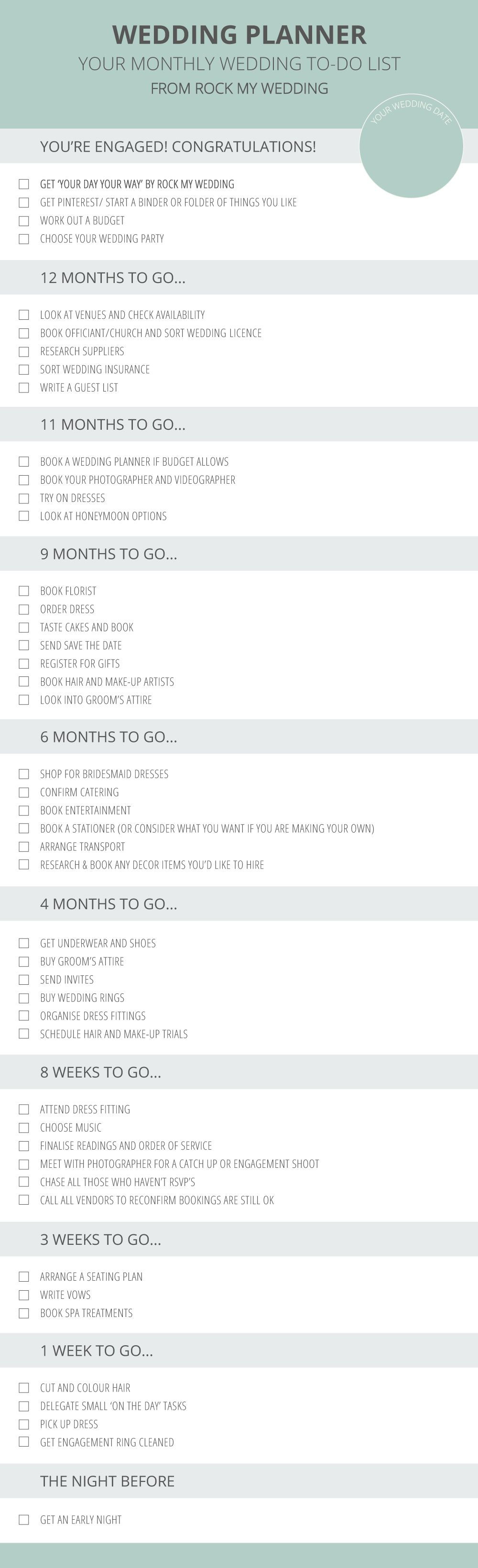 A Simple Month-by-Month Guide To Planning Your Wedding Day   Wedding planning checklist, Wedding ...