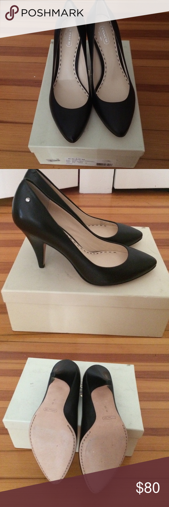 Coach brand new high heels !!!! Brand new !! Never worn it , with box Coach Shoes Heels
