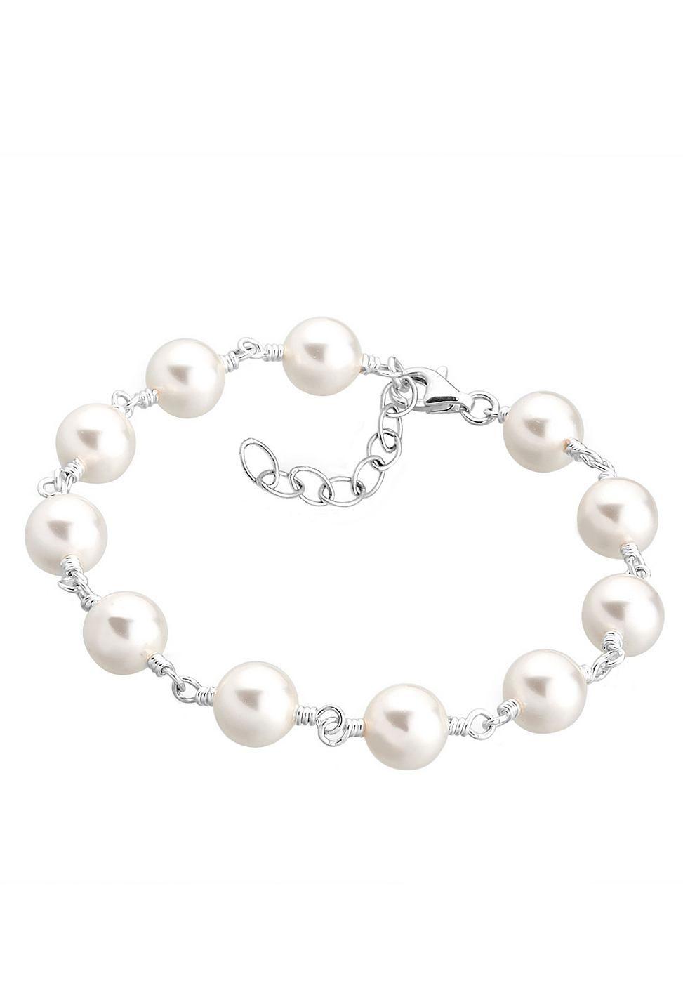 Wunderschönes Perlen Armband mit Kristallen von Swarovski in CRYSTAL WHITE, einem seidigen Weiß. Das Armband kann bis zu 3cm verlängert werden. Verschluss und Kettenelemente aus feinem 925er Sterlingsilber.  Produktdetails: Verschluss: Karabinerhaken, Gesamtanzahl Perlen: 11, Perlenart: Süßwasser-Zuchtperle, Perlenfarbe: weiß, PerlengrËï¬e: 8.0mm, Perlenglanz: Hoher Glanz, Perlenform: Rund, Per...