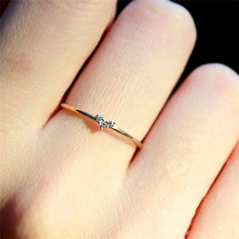Precious Stars Jewelry 14k Gold Plated Sterling Silver CZ Thin Stackacble Ring