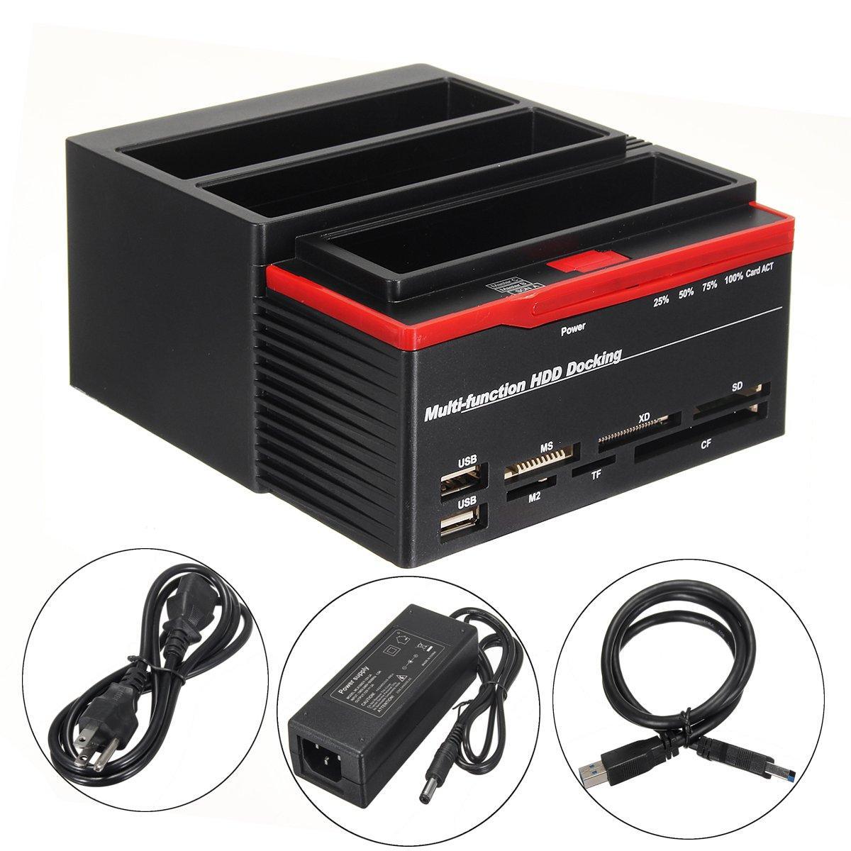 "2.5/""3.5/"" Dual Slots USB 3.0 SATA IDE HDD ALL IN 1 Docking Station Card Reader MT"
