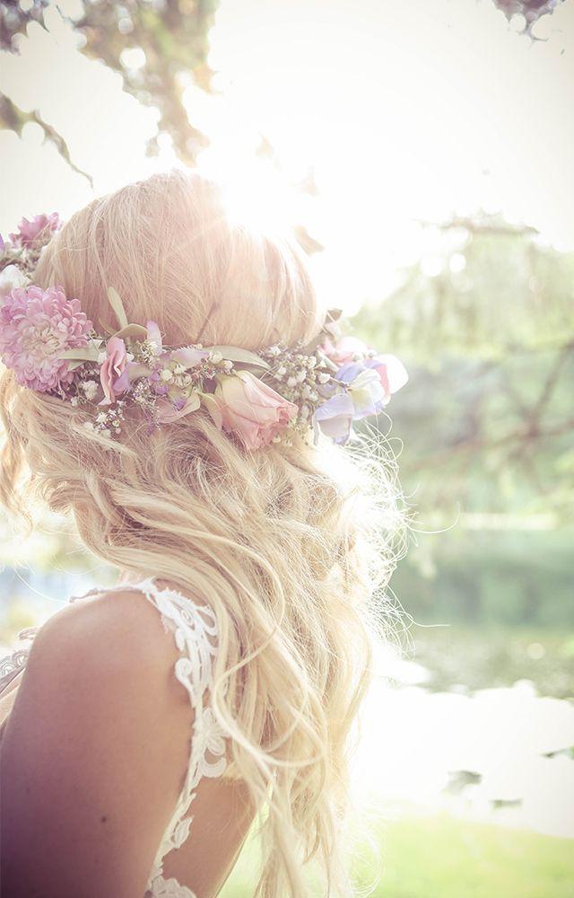 bride with hair crown beach waves
