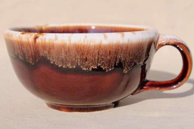 1970s Set of 6 Vintage McCoy Drip Glaze Soup Mugs