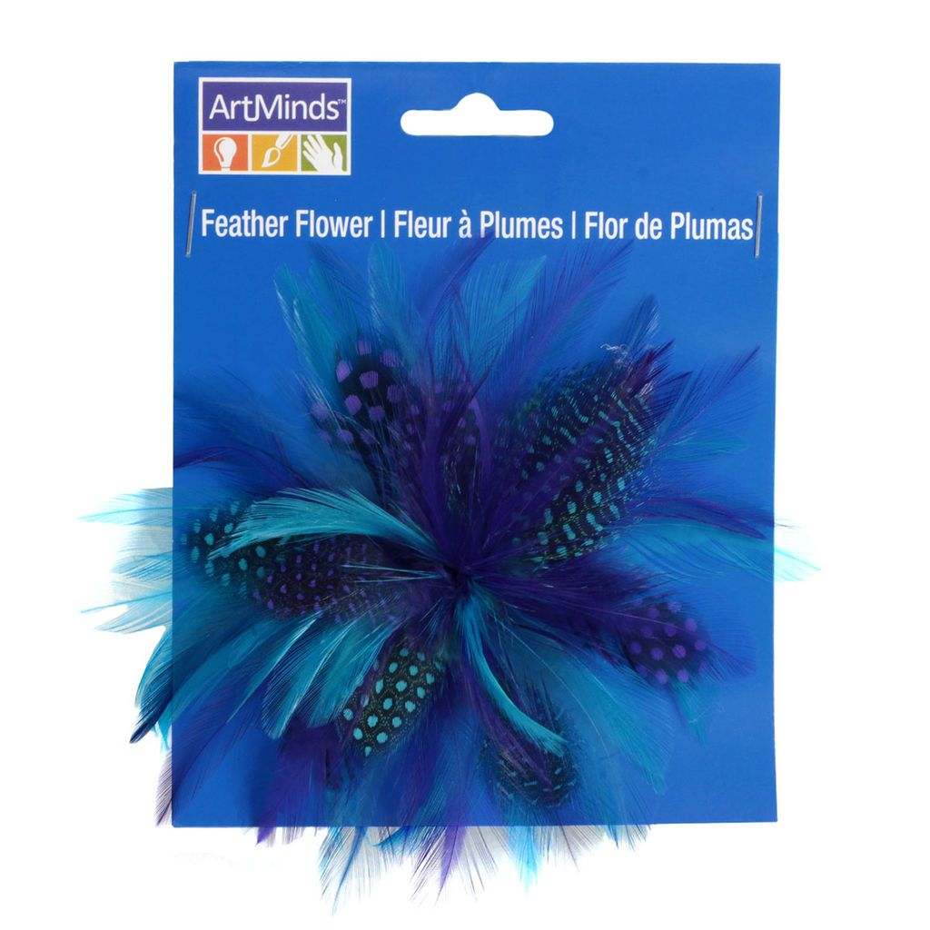 This touchably beautiful feather flower, featuring a combination of wispy feathers in a mix of cool blues and purples, is perfect for all kinds of arts and crafts projects as well as decorative hats, jewelry and other wearables.