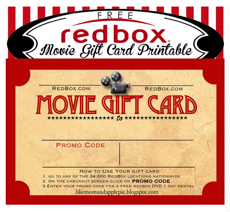 image relating to Redbox Gift Card Printable identified as Pin as a result of Erin upon Reward recommendations Video clip reward, Trainer appreciation