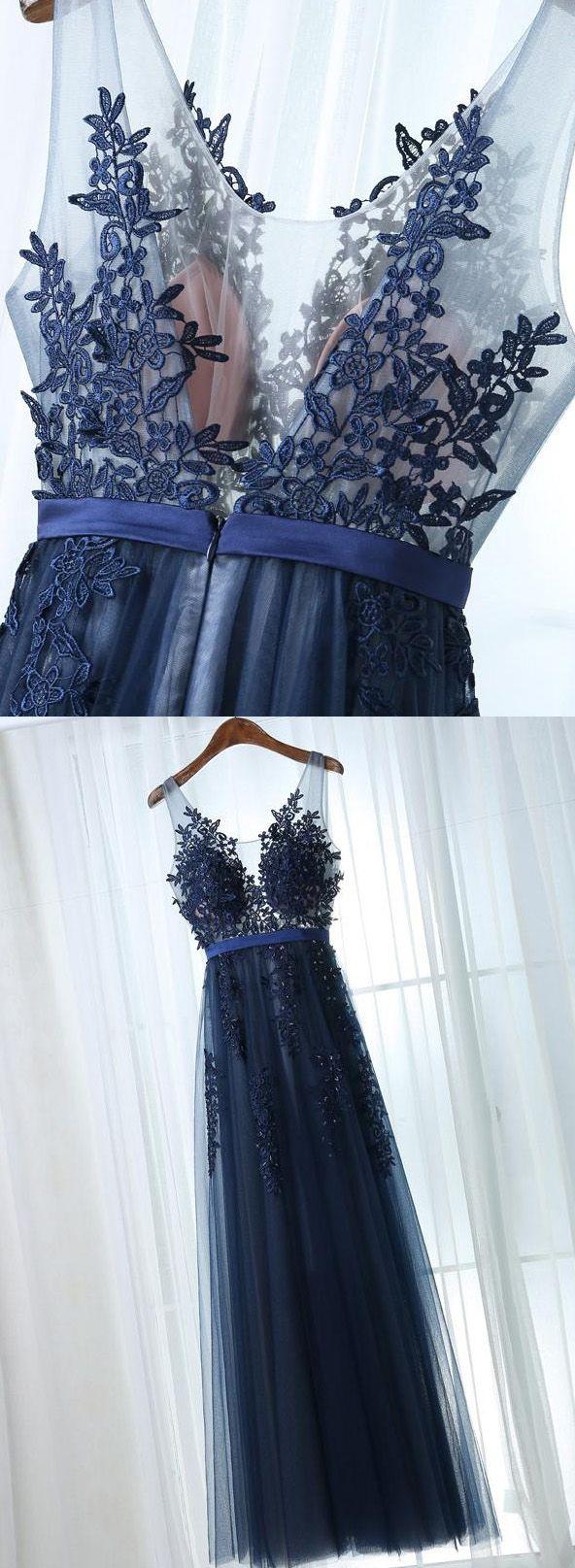 Sleeveless navy prom evening dresses comely long alineprincess