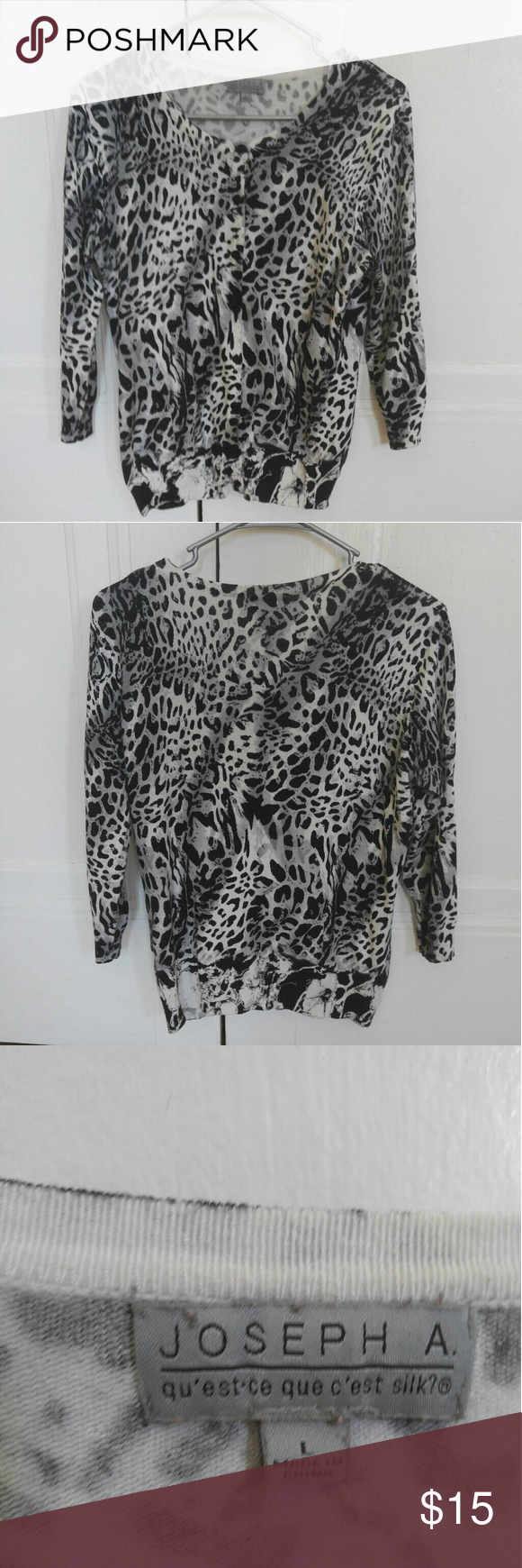 Leopard print cardigan Worn only once Joseph Banks 3/4 sleeve ...