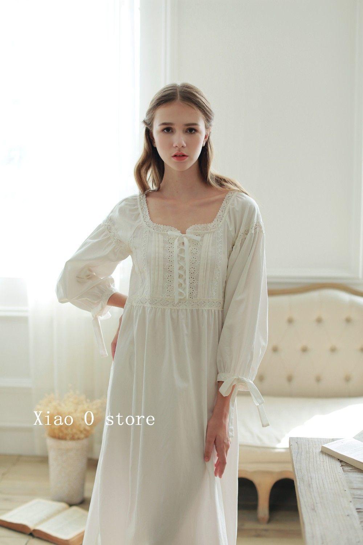 219aa03f77cf98 2016 Hoge Kwaliteit Katoen Thuis Nachtkleding enkellange Vestidos Vintage  Lange Gown Pyjama Middeleeuwse Party Pure Prinses Jurk Vrouwelijke in 2016  Hoge ...