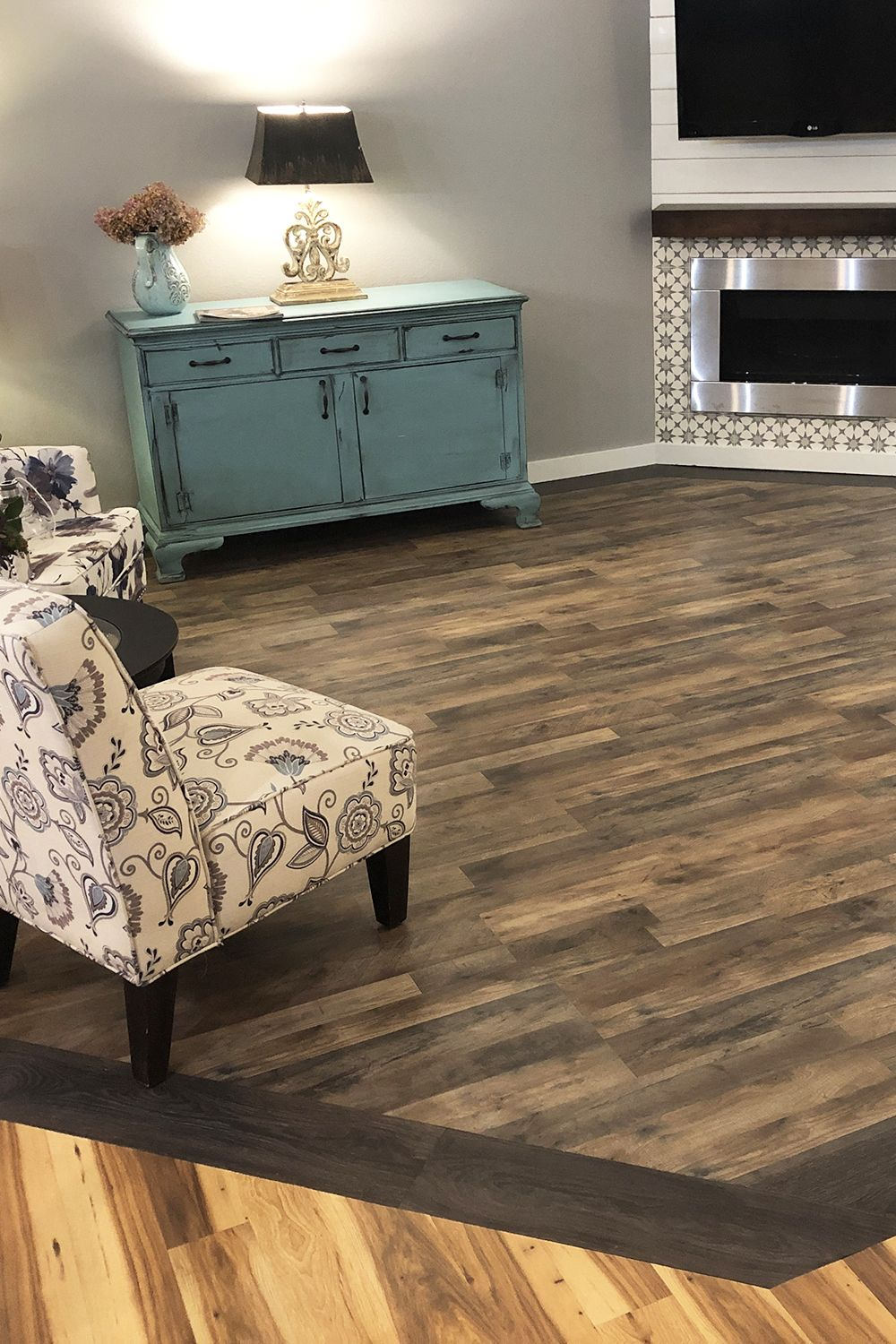Laminate Floor Inlay Installed As Carpet Replacement For Family With Pets Laminate Flooring Colors Dark Laminate Floors Laminate Flooring