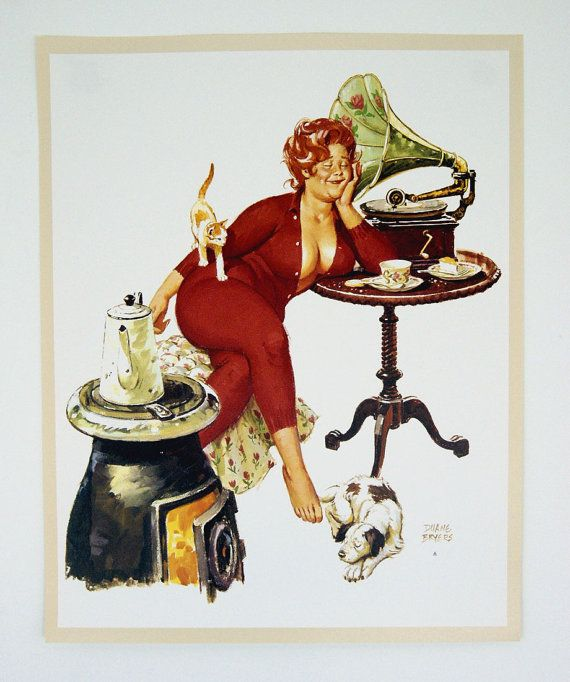 Vintage 1970/'s Duane Bryers Hilda Pin Up Print