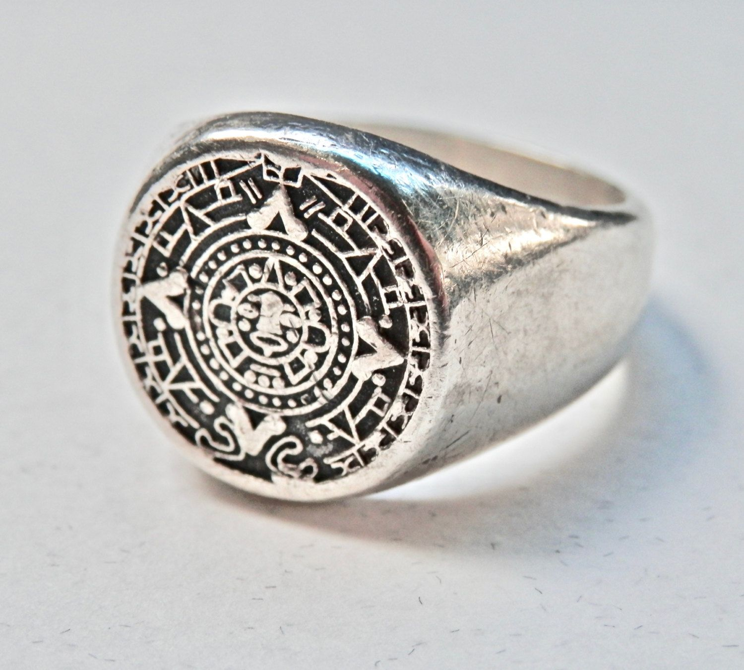 Mexican Ring Vintage Mexican Silver Mens Ring Mayan Calendar Ethnic Jewelry  Vintage Man Size 10.5 Ring 925 Tribal Jewelry Mens Jewelry by  TheJewelryChain on ... 5d93b2a97534