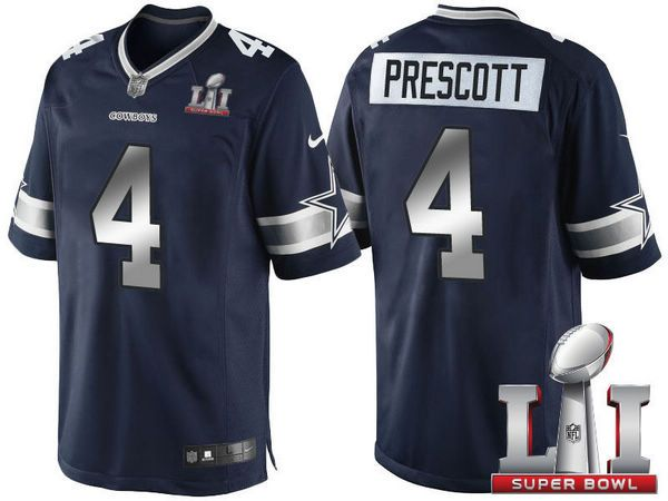 new concept b17f3 c94f7 Men's Dallas Cowboys #4 Dak Prescott Nike Super Bowl LI ...