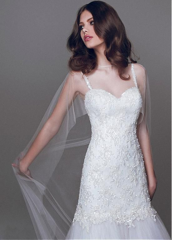 9e4dea94b2a Glamorous Tulle Jewel Neckline Trumpet Wedding Dresses With Beaded Lace  Appliques