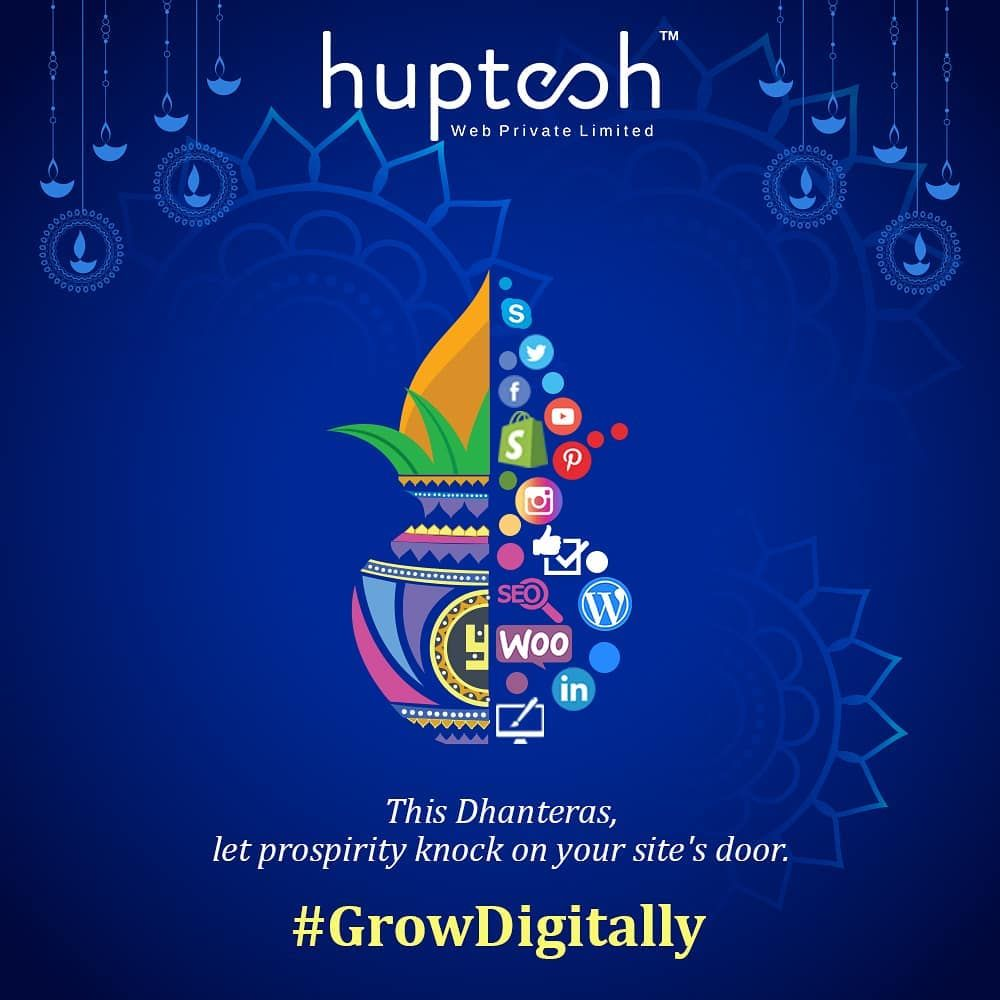 Dhanteras: By nurturing your business online, you can see how customers perceive your business and grow your sales pipeline. #GrowDigitally,  Huptech Family wishes you a very #HappyDhanteras  #dhanteras #festival #huptechweb #dhanteraswishes