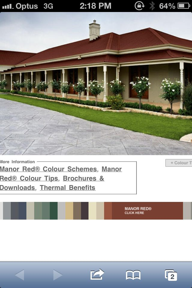 Colorbond Roof In Manor Red Primrose Gutters And Downpipes Exterior Colours Pinterest