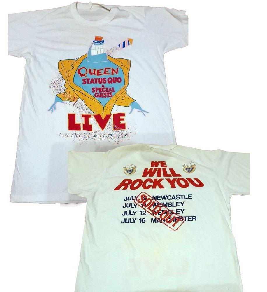 Vintage Queen Status Quo 1986 Tour T Shirt Its A Kind Of Magic Rare Reprint Fashion Clothing Shoes Accessories Mensclo Tour T Shirts Shirts Great T Shirts