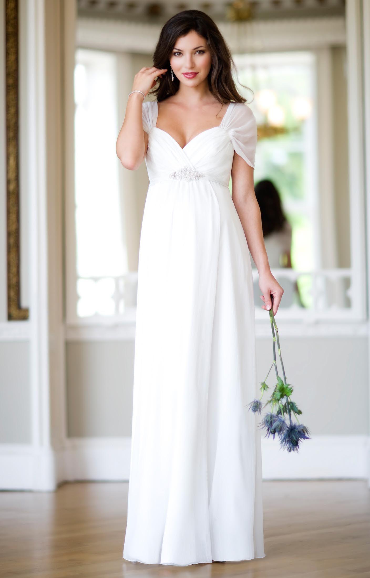 Maternity wedding dress with sleeves  Silk Sophia Maternity Wedding Gown Ivory by Tiffany Rose  Wedding