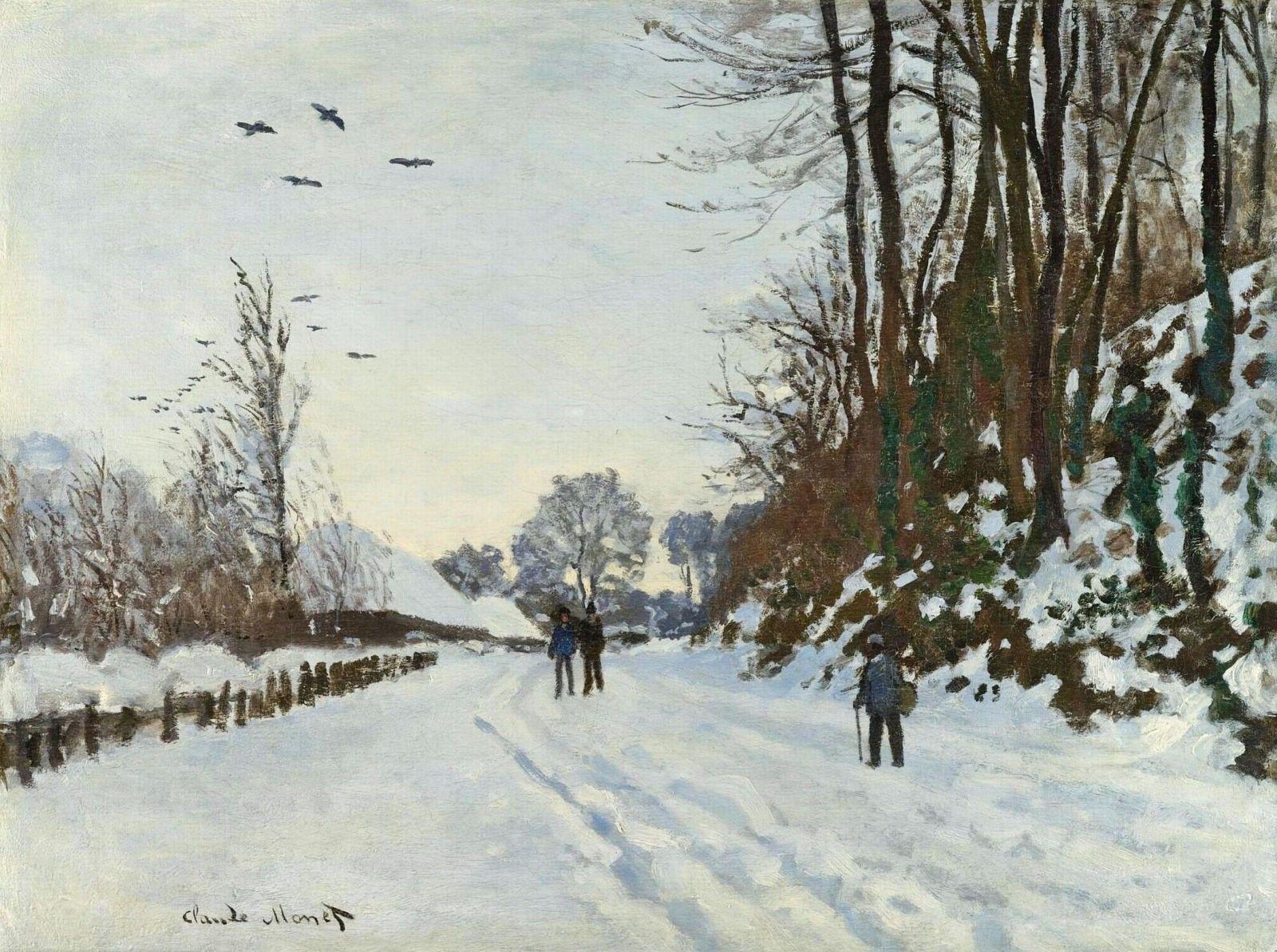 The Road to the Farm of Saint-Simeon in Winter, monet, 1867   モネ, 雪景, クロードモネ
