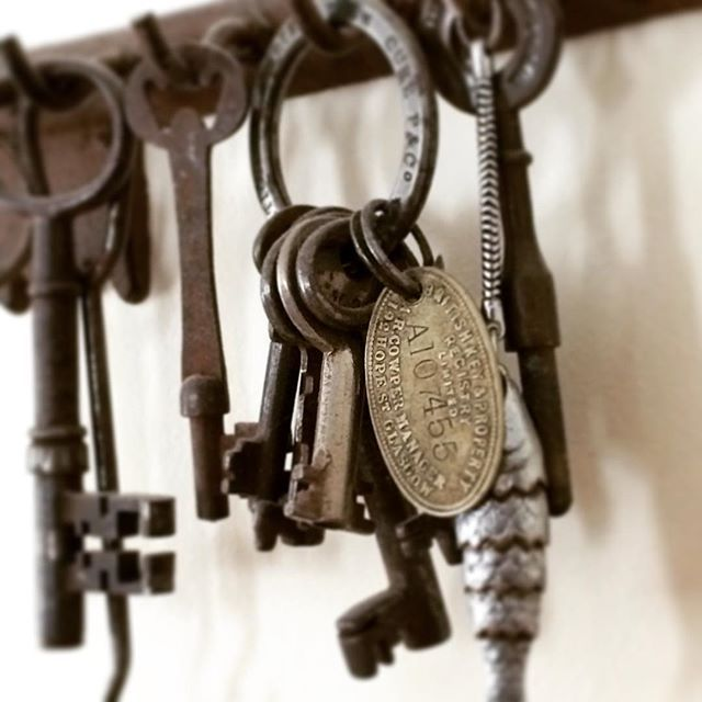 I collect old keys and save some of my favorites on a large key hanger on my wall. Most of these are from my grandparents. #Memories #Keys #OldKeys #Antiques