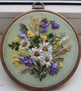 Картинки вышивка лентами полевые цветы