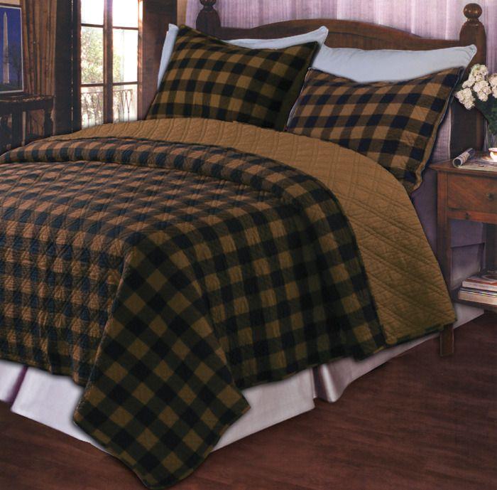 Brown Western Plaid Oversize Reversible Quilt Set King
