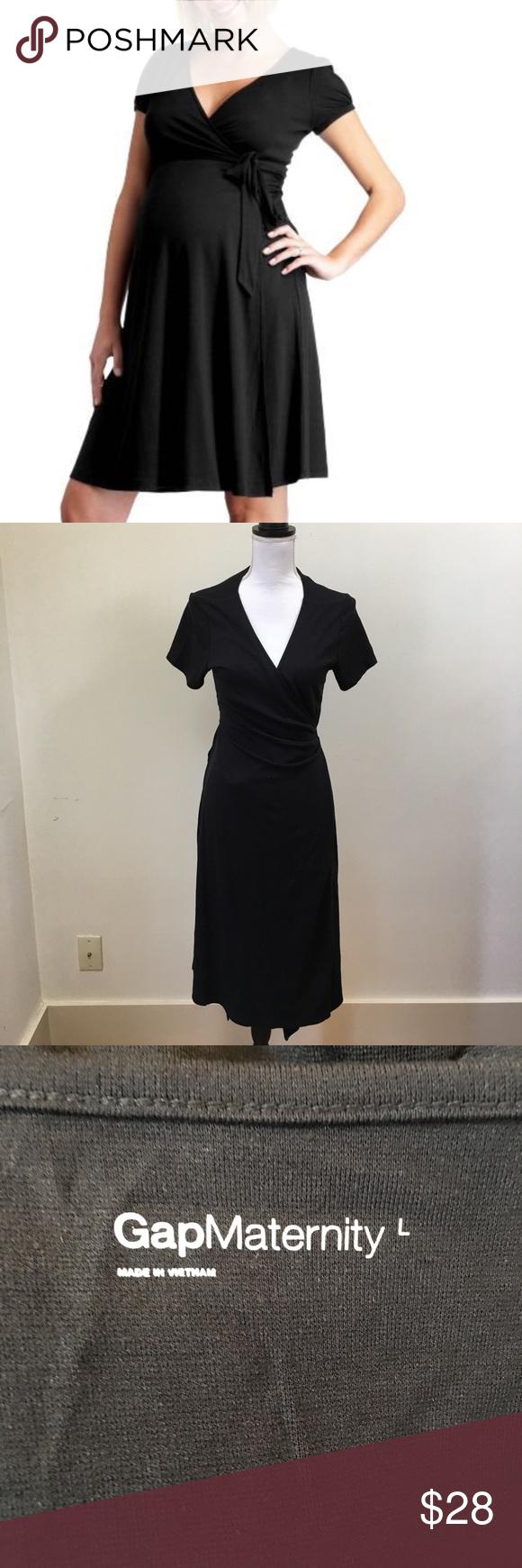 Gap maternity large black wrap dress my posh closet pinterest