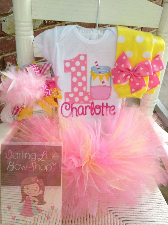 Pink Lemonade Lemon Yellow Baby Girl 1st First Birthday Tutu Outfit Set Shirt