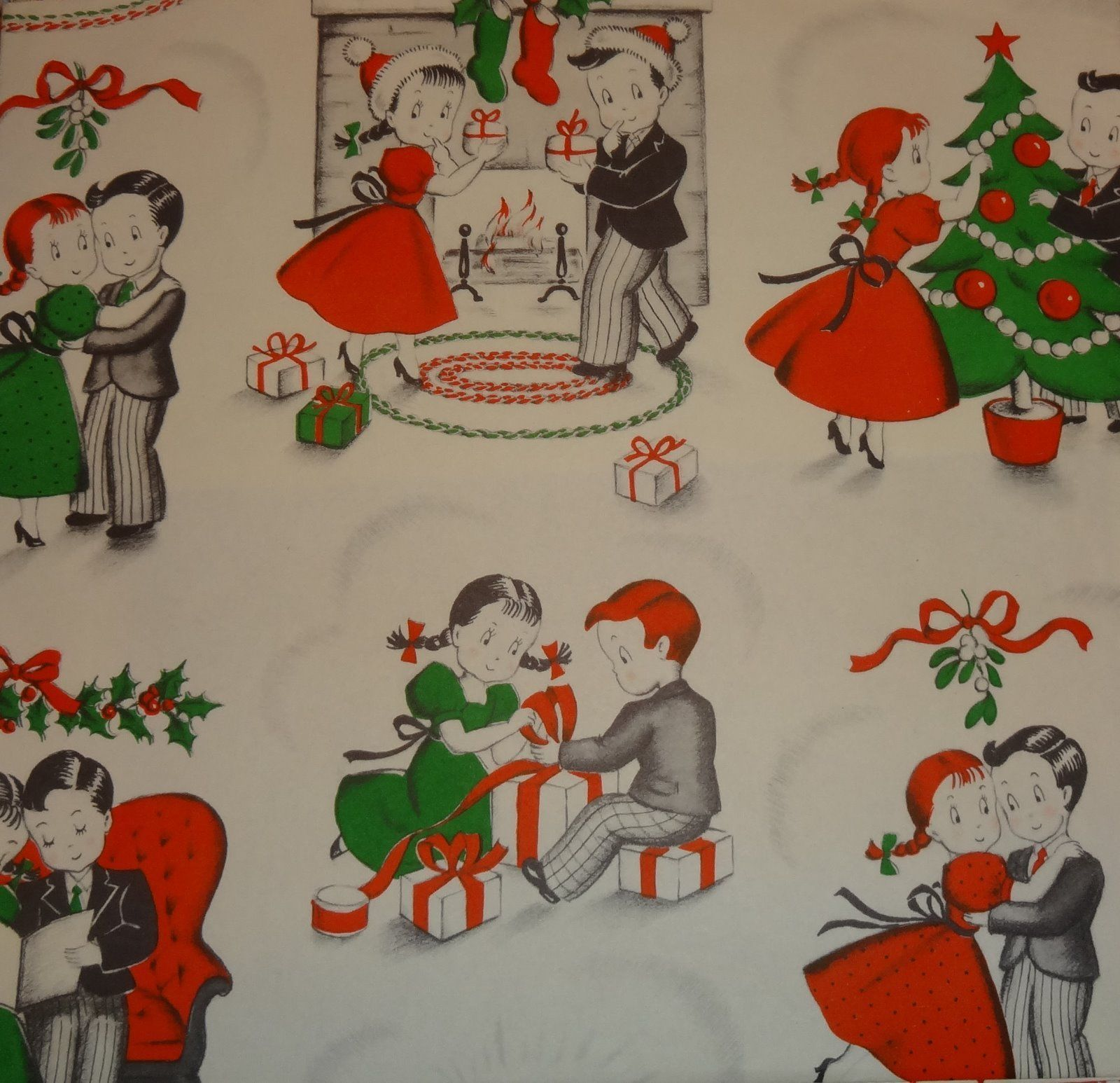 Vintage Norcross Christmas Wrapping Paper, Suzie Q and Her Beau at Christmas  | eBay