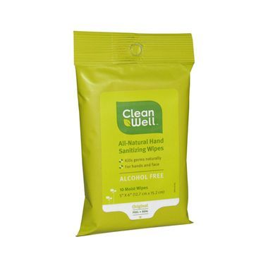Cleanwell Hand Sanitizing Wipes Travel Size 10 Count Case Of