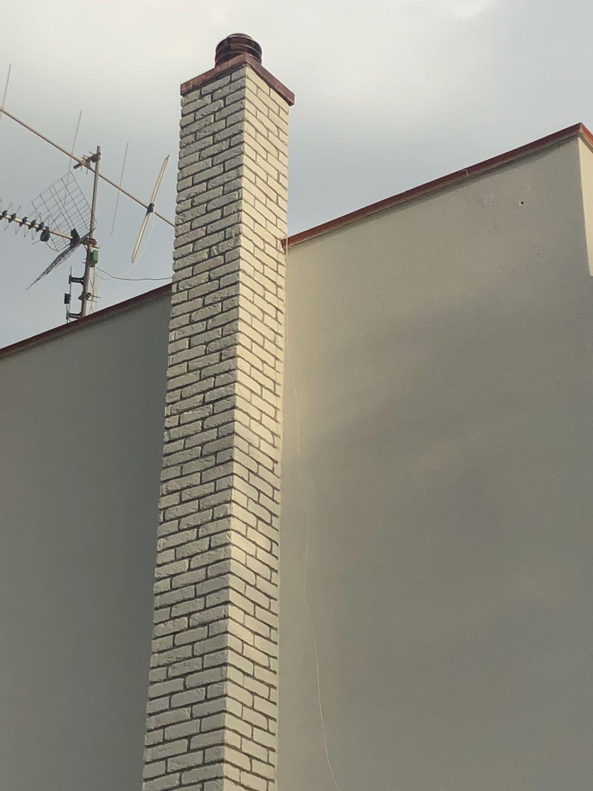 Mattoni Bianchi Per Esterni rivestimento esterno canna fumaria con mattone bianco