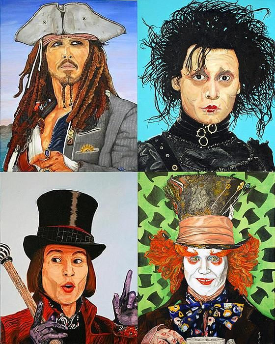 Johnny Depp Collage Painting Illustrations Johnny Depp