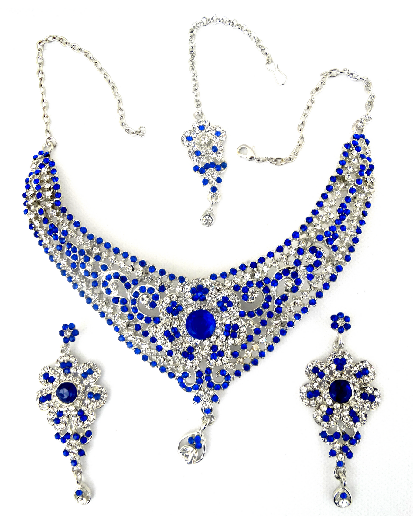 536ebcf7b Parure bleu roi Bijoux Bollywood argenté avec les pierres bleues et ...