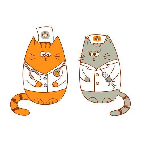 Cute Doctors Cats Vector Vector Animal Free Download Doctor Cat Cat Character Cat Vector