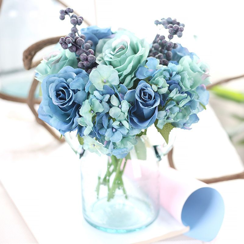 Artificial rose flowers silk blue bouquts for bridal wedding hand artificial rose flowers silk blue bouquts for bridal wedding hand bouquts and pompom wreaths decoration supplies yesterdays price us 1198 990 eur mightylinksfo