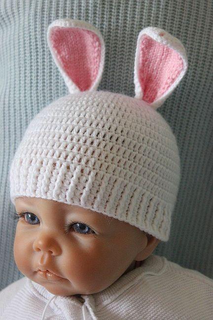 Kostenlose Häkelanleitung für Babymütze Hase | Baby | Pinterest ...