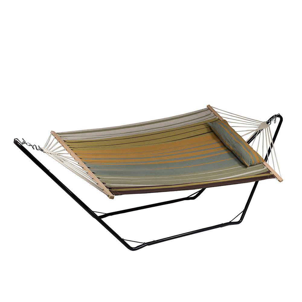 Sunnydaze Sunset Beach Cotton Fabric Hammock With Spreader Bars Pillow And Stand Combo Sunnydaze Decor Hammock Hanging Hammock Chair
