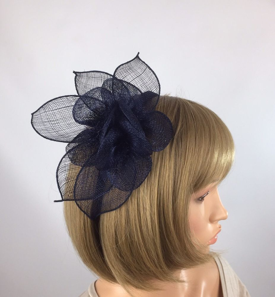 Dark Navy Blue Fascinator - Occasion Weddings Races Mother of the Bride  f3c4d423b3f
