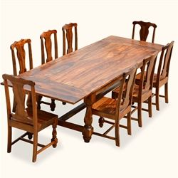 Dining Rustic Solid Wood Early American Table And Chair Set