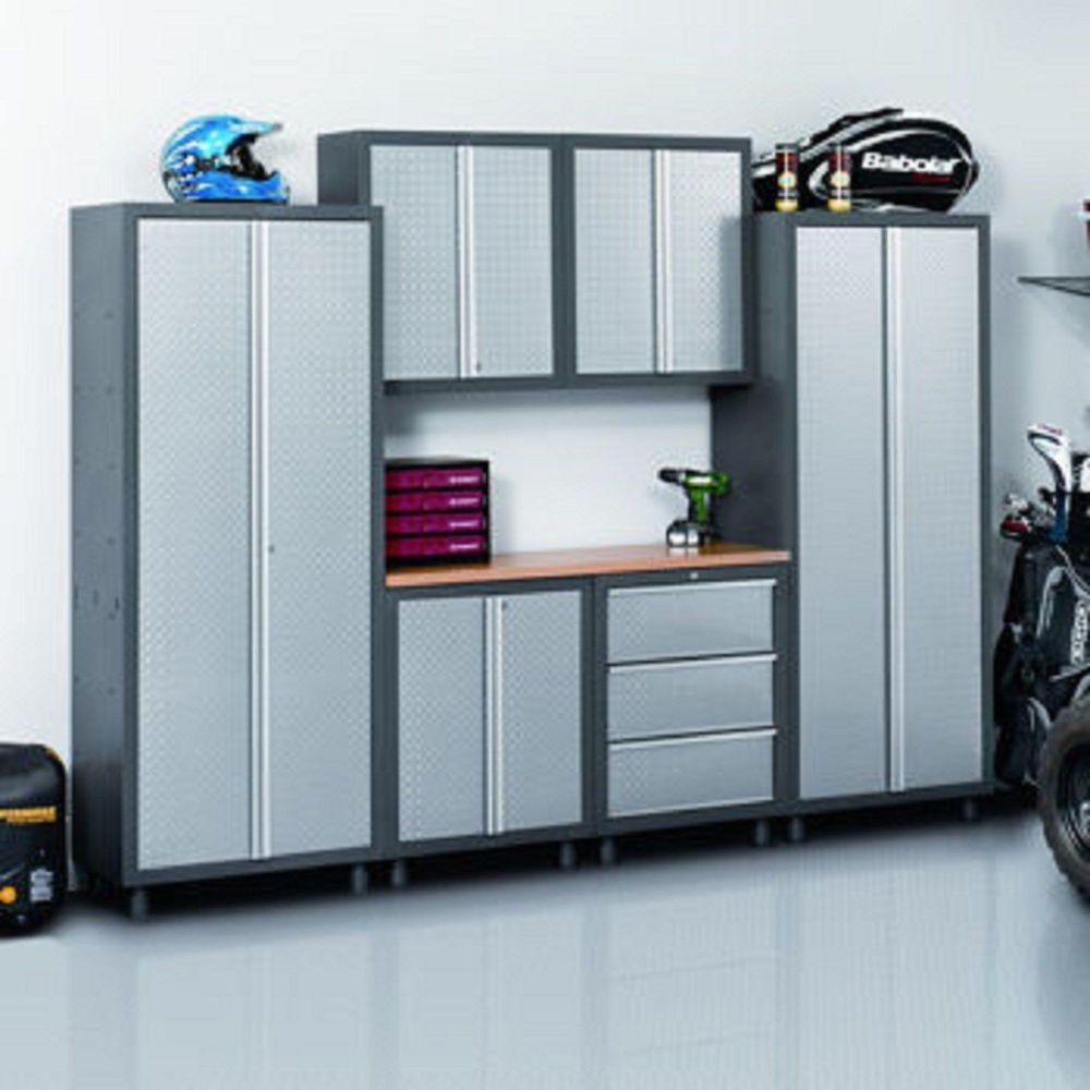 Garage Storage Cabinets Work 7 Piece Set Gray Diamond Plate Workbench