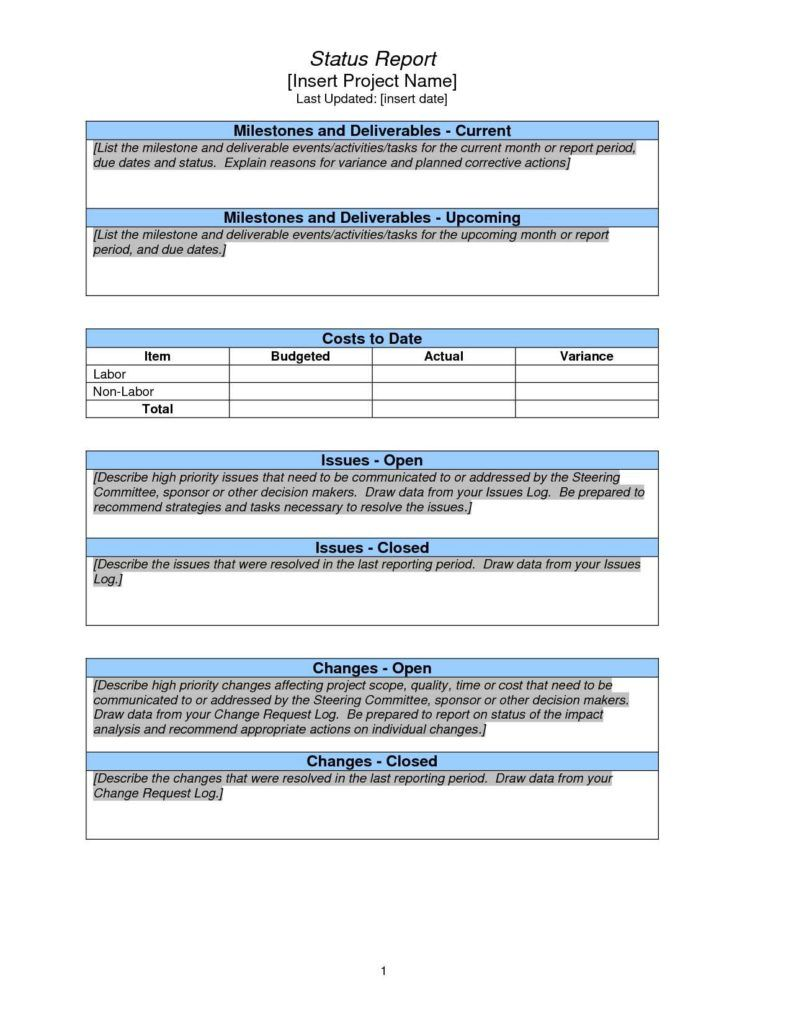 Project Management Report Template Excel And Weekly Project Pertaining To It Management Report T Progress Report Template Project Status Report Report Template