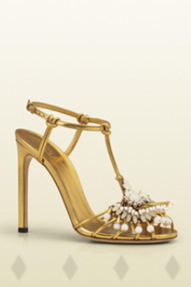 Gucci Gold Sandal | Gold bridal shoes