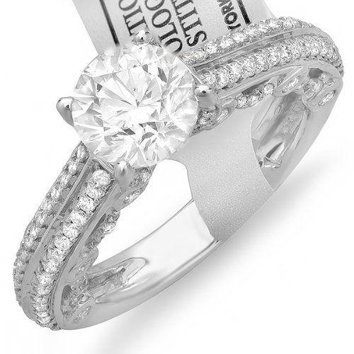 IGI Certified 14k White Gold Round Diamond Ladies Engagement Bridal Ring (2.29 cttw, G-H Color, SI1-SI2 Clarity) Center 1.50 ct by DazzlingRock Collection, http://www.amazon.com/dp/B007EFUYS2/ref=cm_sw_r_pi_dp_cg.Jpb18W6P4J