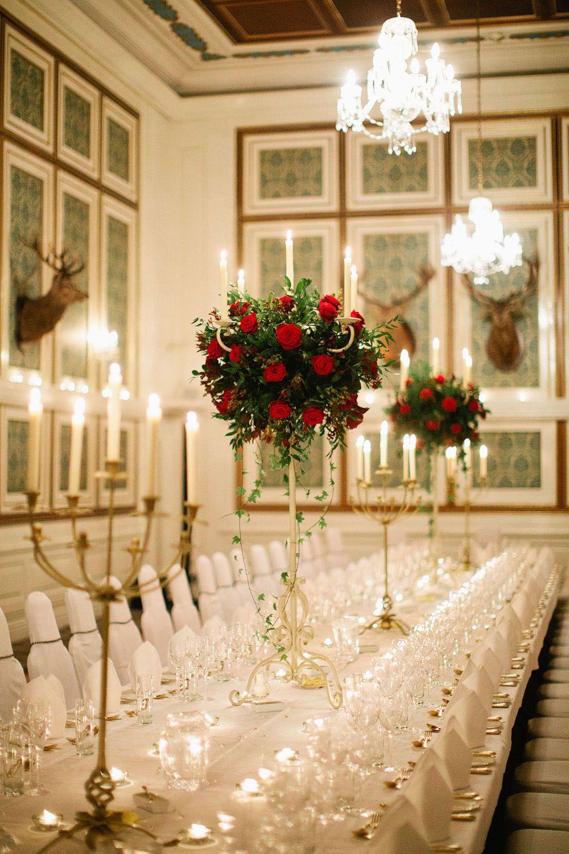 Red roses in candelabras, Drumtochty Castle ballroom # ...